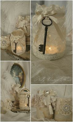 Shabby chic crafts ideas projects mason jars 37 new Ideas Shabby Chic Crafts, Vintage Crafts, Vintage Shabby Chic, Shabby Chic Decor, Vintage Keys, Shabby Chic Jars, Shabby Chic Candle Holders, Vintage Books, Vintage Decor
