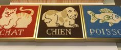 ONE Dog Cat Fish Needlepoint Art Completed Framed Chien Chat Poisson French Word #Unbranded