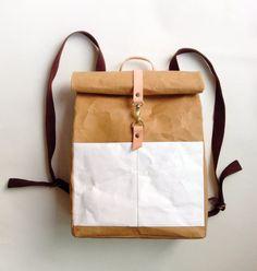Backpack : Tyvek and Kraft paper roll top backpack/travel bag/beach bag/washable bag/lightweight and eco friendly Backpack Travel Bag, Leather Backpack, Papel Tyvek, Types Of Handbags, Top Backpacks, School Backpacks, Freundlich, Shops, Kraft Paper