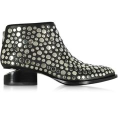 Alexander Wang Shoes Kori Black Leather Ankle Boot w/Studs ($950) ❤ liked on Polyvore featuring shoes, boots, ankle booties, cutout booties, leather ankle boots, leather booties, cut out booties and black cut out booties