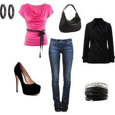 Pink and Black - nice! Cute Outfits With Jeans, Jean Outfits, Black Love, Play Dress, New Wardrobe, Playing Dress Up, Style Me, Strength, Nice