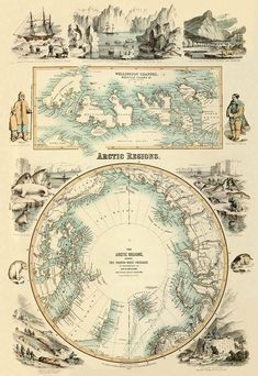 Marvelous antique Arctic Regions  map PRINT  22 x by AncientShades, $43.00