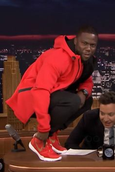 Kevin Hart wearing Nike Therma Sphere Max Training Jacket, Nike Dri Fit T-Shirt, Nike Hustle Hart Sneaker, Nike Therma Sphere Max Training Pants, Richard Mille 011 Flyback Chronograph Geneva Boutique Edition