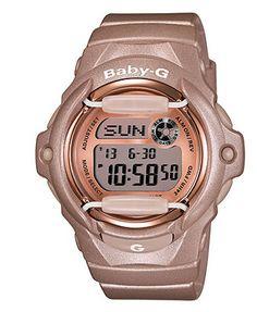 Baby-G Watch, Women's Digital Beige Resin Strap 43x46mm BG169G-4