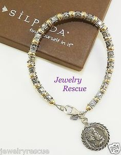 Silpada-Coin-Charm-Bracelet-14k-Yellow-Gold-Filled-925-Sterling-Silver-B1582