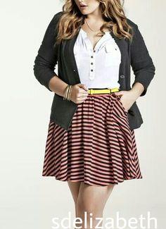 cfbf8dcd7de white button up    striped skirt    yellow belt    cardigan
