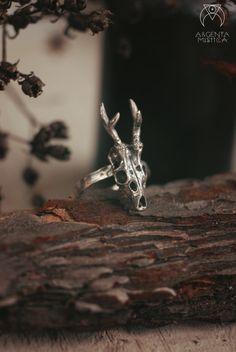 Bague en bois de cerf chevreuil. Nu gothique goth païen bague en argent…