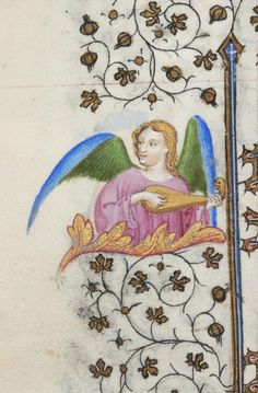Half-figure of angel, winged, playing gittern | Book of Hours | France, Paris | ca. 1418 | The Morgan Library & Museum