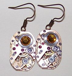Steampunk RARE Vintage Gold Watch Earrings Published Artist Designer Swarovski   eBay