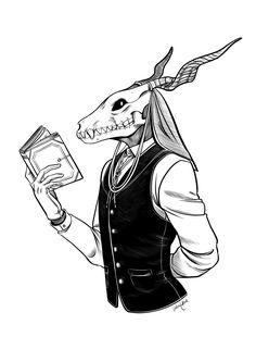 """valenlarae: """"Here's the Elias I did for my inked example on my commission sheet! I've been wanting to do something for The Ancient Magus Bride for a while and I love Elias so it had to happen. Creepy Drawings, Dark Art Drawings, Halloween Drawings, Creepy Art, Art Drawings Sketches, Cool Drawings, Tattoo Design Drawings, Character Art, Character Design"""