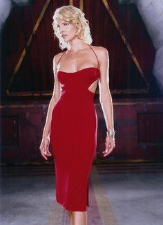 the gorgeous, amazing Tricia Helfer Caprica 6 Red Dress #BattlestarGalactica