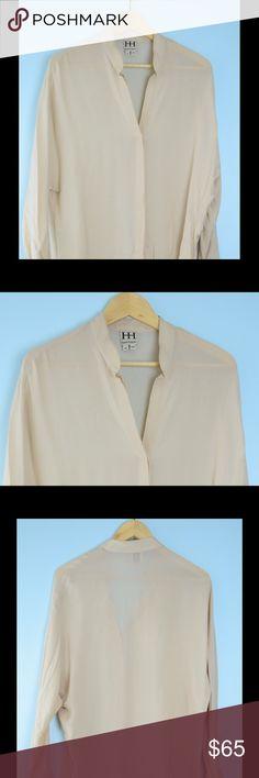 HAUTE HIPPIE beige semi sheer silk blouse M HAUTE HIPPIE beige long sleeve semi sheer blouse Medium, length 28 inches, bust 40 inches, 100% silk, needs slight de pill Haute Hippie Tops
