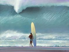 Showcase of surf art by Californian surf artist Ken Auster on Club Of The Waves Waimea Bay, Big Wave Surfing, Surfing Pictures, Ocean Pictures, Summer Pictures, Sports Camera, Surf City, Sea Waves, Surfs Up