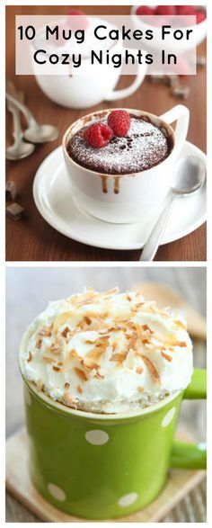 10 Mug Cakes For Cozy Nights In | Get late night cravings? These mug cake recipes will surely do the trick! They're the best easy dessert recipes!