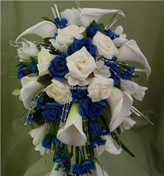 BRIDES  SHOWER WEDDING BOUQUET DEEP BLUE ROSES  CALLA LILIES corsage