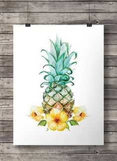 Hibiskus Aquarell Ananas - Printable Wandkunst - Download sofort Digitaldruck