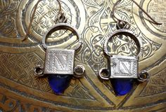 Moroccan Tuareg silver and blue earrings by HilarysBazaar on Etsy, $54.00
