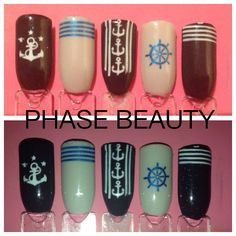 Shellac nail art design ideas 'sailor nails'