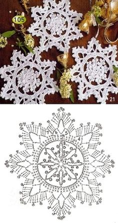 57 Ideas for knitting christmas decorations snowflake ornaments Crochet Snowflake Pattern, Crochet Stars, Crochet Motifs, Christmas Crochet Patterns, Holiday Crochet, Crochet Snowflakes, Doily Patterns, Christmas Knitting, Thread Crochet