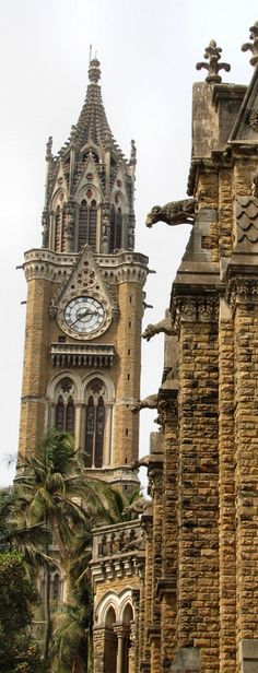 Rajabai Clock Tower & University of Mumbai, Mumbai, India. Construction began in March of 1869 and the architect was George Gilbert Scott.  The clock tower was modeled after Big Ben and the architectural style is Gothic.  The clock tower stands at a height of 85 meters.