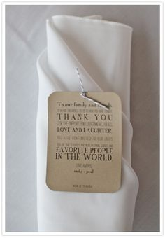 love this craft paper thank you letter to the guests