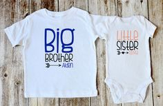 Big Brother & Little Sister Outfit / T-shirt and Onesie / Heart and Arrows