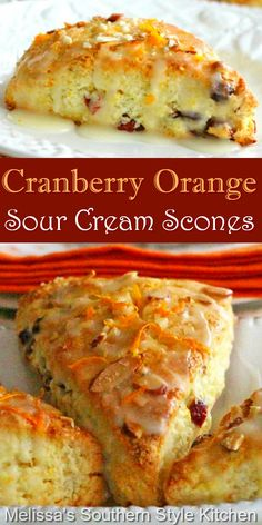 Brunch Recipes, Sweet Recipes, Dessert Recipes, Tea Recipes, Southern Recipes, Sour Cream Scones, Scone Recipe With Sour Cream, Lemon Scones, Breakfast Dishes
