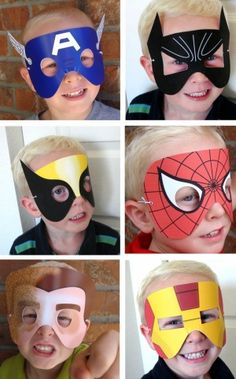 4 SUPERHERO MASKS printa by TinyCarmen