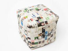 banquinho tipo Puf, também feito de tirar de papel jornal.