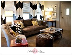 Alluring Chevron Pattern in Smart Living Room Design: Excellent Chevron Curtains For The Eclectic Living Room With Dark Brown Table Which Is Made From Wooden Material ~ SFXit Design Living Room Inspiration Eclectic Living Room, Cozy Living Rooms, Home Living Room, Apartment Living, Living Room Decor, Living Spaces, Dining Room, Living Area, Style At Home