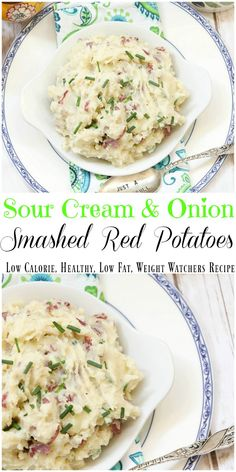 Leave the skin on these quick and easy mashed red potatoes flavored with sour cream and green onions. No butter they are healthy, low calorie and low fat. Potato Recipes, Veggie Recipes, Vegetarian Recipes, Cooking Recipes, Healthy Holiday Recipes, Thanksgiving Recipes, Fall Recipes, Healthy Side Dishes, Side Dish Recipes