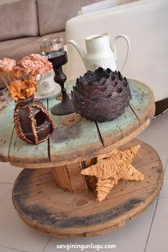 dıy,Easy DIY Home Decor, wooden reel coffee table,recycling, geridönüşüm, ahşap makara sehpa, home dıy ideas