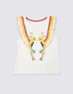 This fun and illustrative frill top for girls with lovebirdsis a perfect mix of cuteness and quality. Cute design makes this shirt super cool for girls who lov