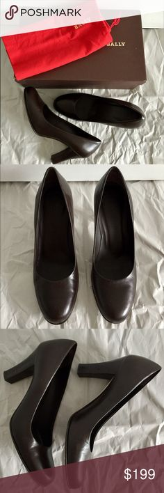"""Authentic Bally Brown Heels 3"""" heels. Box+dust bag+receipt included. Mint condition. Worn 2 times for interviews. Leather upper and sole+wood heels. Made in Italy. Bally Shoes Heels"""