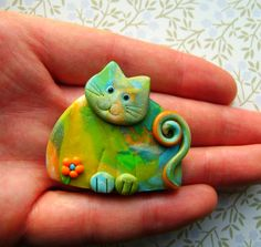 Sweet Colorful Polymer Clay Cat Brooch or Magnet.
