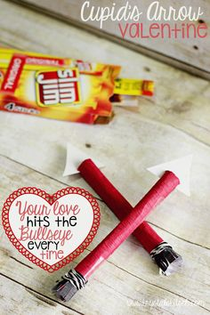 """Make this Cupid's Arrow with Slim Jim sticks or pencils for an easy Valentine's Day gift or card. """"You hit the bullseye every time!"""""""