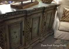 Buffet painted in colors Duck Egg, Country Grey, and Olive with Annie's Clear and Dark Waxes...Chalk Paint® by Annie Sloan.  via Fresh Vintage Finds