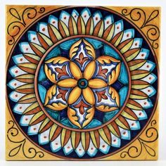 This ceramic wall and floor tile is entirely hand painted by Francesca Niccacci, an internationally renowned artist from Deruta. Her intricate geometric designs are a unique blend of sophisticated classic patterns and perfectly shaded colors. Painting Tile Floors, Italian Tiles, Italian Pottery, Handmade Tiles, Hand Painted Ceramics, Ceramics Tile, Pottery Designs, Decorative Tile, Mandala Coloring