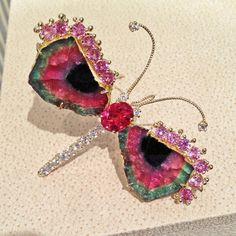 Trusso Watermelon Tourmaline Pink Sapphire Diamond Dragonfly Brooch Pendant