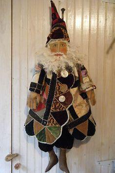 Primitive Folk Art Santa Doll Antique Quilt Outfit by Melissa Zietz Original | eBay