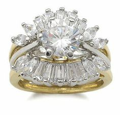 CZ Wedding Rings - Two Tone CZ Engagement Ring with Wedding Ring Guard CostumeFashionJewelry. $29.50. Save 50%!