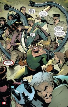 Peter's friends and family join in the right against Doc Ock (from Superior Spider-Man #9)
