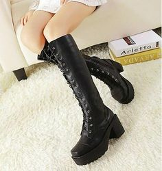 Womens Black Punk Lace Up Gothic Chunky Heels Platform Knee High Boots - $48, free shipping from china. Right style (not too big of a heel) but they look kinda cheap though.