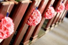 Pomander Balls-Pew Decor :  wedding pew decor pomander balls gerber daisies navy pink ceremony flowers Another