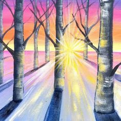 Sunlight Through Trees Acrylic Painting Tutorial Beginners On Canvas Acrylic Painting Lessons, Acrylic Painting Tutorials, Diy Painting, Painting & Drawing, Sunrise Painting, Wine And Canvas, Aesthetic Painting, Beginner Painting, Tree Art