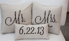 Mr. & Mrs. Custom Pillow with Wedding Date. via Etsy. @ Pin For Your Home
