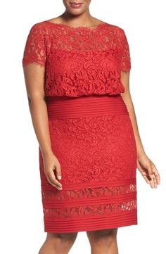 NWT TADASHI SHOJI EMBROIDERED BLOUSON SHEATH Deep Red Dress Size 22W #TADASHISHOJI #Blouson #Cocktail