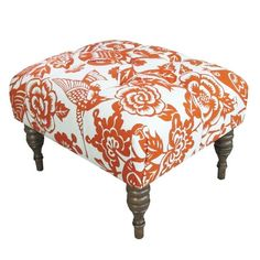 Canary Cocktail Ottoman in Tangerine.