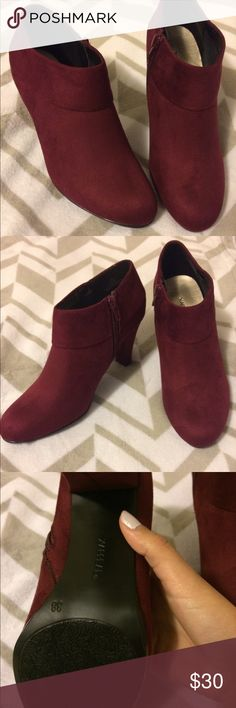 8ff862ee53 Wine colored booties size 8 They have zipper on the side of the inside boot.  Size 8 red wine color with original box worn once Shoes Ankle Boots    Booties