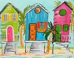 Photo of Uptown Art - West Palm Beach, FL, United States. Paint And Sip, Tropical Art, Beach Art, Beach Mural, Paint Party, Pictures To Paint, Whimsical Art, Painting Inspiration, Strand